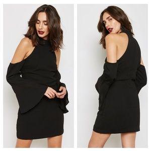 WYLDR Over It Black Cold Shoulder Mini Shift Dress